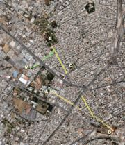 Key locations in modern Athens relating to the placment of Epicurus' Garden.  Click to enlarge.